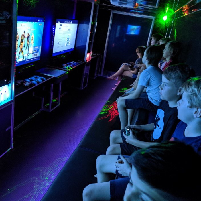 Children Glued to the screens - Video Game Party