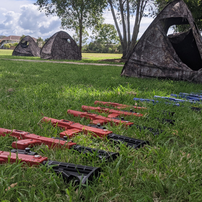 Laser Tag - placing taggers in outdoor grass