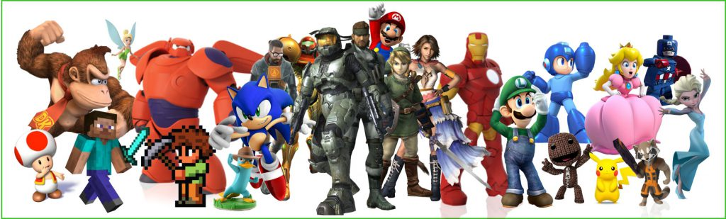 Image of video game characters in video games available in gaming consoles.